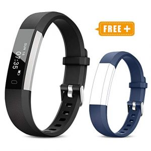 TOOBUR Fitness Armband für Kinder Damen Herren, Schrittzähler Uhr Fitness Tracker mit Kalorienzähler, Wasserdicht Aktivitätstracker Armbanduhr mit Schlafmonitor und Vibration Wecker (Schwarz Blau)