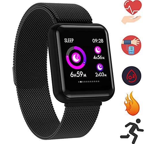 Bluetooth Smartwatch, Fitness Uhr Intelligente Armbanduhr Fitness Tracker Smart Watch Sport Uhr mit Kamera Schrittzähler Schlaftracker Romte Capture Kompatibel mit Android Smartphone (P68 Schwarz)