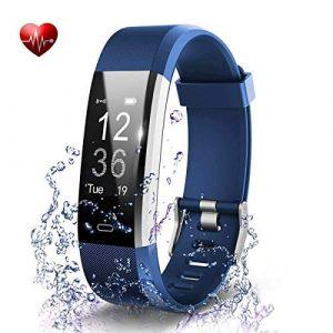 Fitness Armband, Antimi Fitness Trackers Pulsuhren Schrittzähler für iPhone Android Handy (Blau-02)
