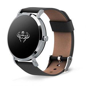 teepao Fitness Tracker Armbanduhr für Damen Herren OLED-Bildschirm Activity Tracker mit Herzfrequenz/Sleep Monitor Kalorien Track IP67 Wasserfest Schwarz Stahl Band Silver Leather Band