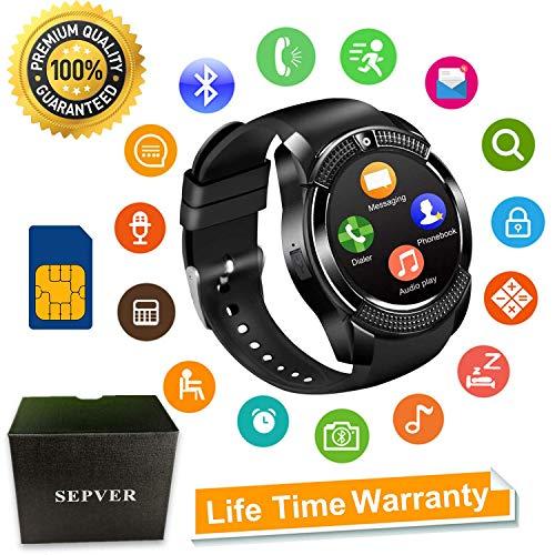 SEPVER Smartwatch SN08 Smart Watch Fitness Uhr Intelligente Armbanduhr Fitness Tracker Sport Uhr mit SIM Karte Slot Kamera Kompatibel mit Android Smartphone iPhone für Damen Herren Kinder (Schwarz)