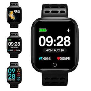 Fitness Armband, KUNGIX IP67 Fitness Tracker Armband Uhr Mit Pulsmesser Smart Armbanduhr Watch Damen Herren Kinder Android iOS Mit Schrittzähler Kalorienzähler (Schwarz)