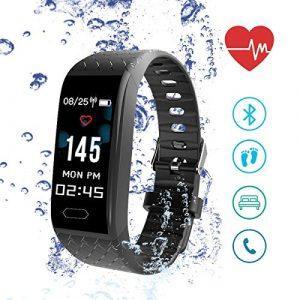 Fitness Armband mit Pulsmesser Herzfrequenzmesser Fitness Tracker, ISENPENK Laufuhr Sport Fitness Armbanduhr Aktivitätstracker Schrittzähler, Wasserdicht IP67, mit Remote-Kamera,GPS, für Android iOS