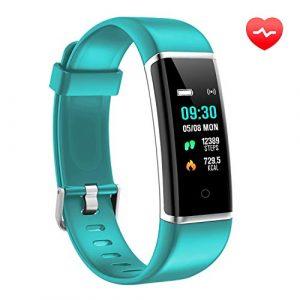 AUSUN Fitness Armband, FT901HR Fitness Tracker mit Pulsmesser Wasserdicht IP67 Aktivitätstracker Schrittzähler Uhr Pulsuhren Fitness Uhr Vibrationsalarm Anruf SMS Beachten für Kinder Damen, Grün