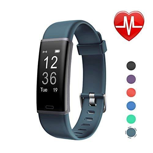 LETSCOM Fitness Armband mit Pulsmesser Fitness Tracker wasserdicht Aktivitätstracker Armbanduhr mit Schrittzähler Pedometer Kalorienzähler Smart Armband für Kinder, Damen und Herren Kompatibel Grau