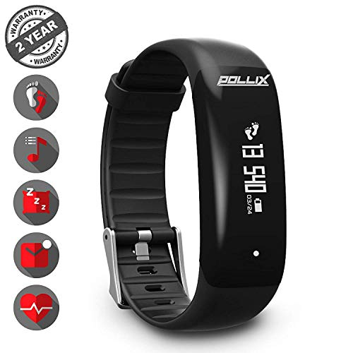 POLLIX Fitness Armband Uhr mit Pulsmesser u Schrittzähler, Activity Tracker IPX7 Wasserdicht Sport- Pulsuhr mit Musiksteuerung, Anruf, SMS, FB, Whatsapp Benachrichtigungen für iOS Android