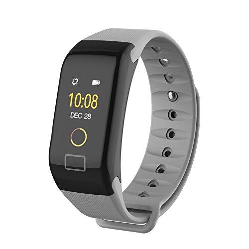 Blue-Tooth Smart Watch F1, Uhr Intelligente Armbanduhr Color Bildschirm Farbe Fitness Blutdruck Sauerstoff Pulsmesser Smart Watch Armband Alles kompatibel Smartwatch für Herren Damen (Grau)