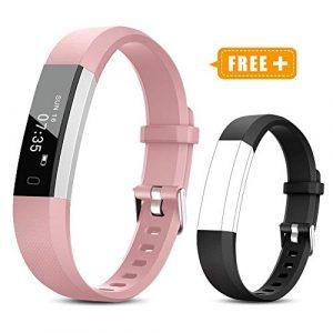 TOOBUR Fitness Armband für Kinder Damen, Schrittzähler Uhr Fitness Tracker mit Kalorienzähler, Wasserdicht Schmal Aktivitätstracker Armbanduhr mit Schlafmonitor und Vibration Wecker (Rosa Schwarz)