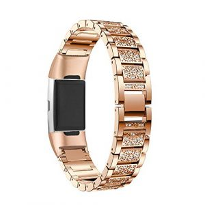 Aottom für Fitbit Charge 3 Armband Roségold,Armbänder Fitbit Charge3 Damen Ersatzband Armband Charge 3 SE Edelstahl Band Kristall Metall Fitness Zubehör für Fitbit Charge 3/Charge 3 SE