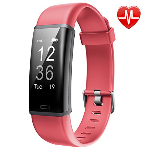 Lintelek IP67 Wasserdicht Schrittzähler, Fitness Tracker mit Pulsmesser Aaktivitätstracker für Damen Kinder Herren(Rot)