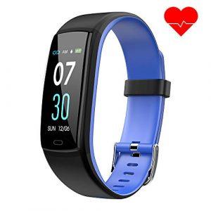 Dwfit Fitness Armband mit Pulsmesser,Wasserdicht Blutdruckmesser Fitness Tracker Aktivitätstracker Pulsuhren Schrittzähler,Uhr Smartwatch mit Schlafmonitor für iOS Android Handy(Blau)