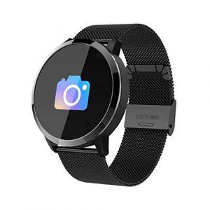 Q8 Smartwatch Fitness Armband | Pulsmesser Tracker IP67 Wasserdicht, Schlaf Monitor Kalorienzähler GPS, Bluetooth Kamera, Sport Fitness Tracker für Damen Herren mit iOS Android (Milanese❤️ Schwarz)