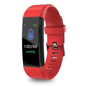 FOONEE ID115PLUS Fitness-Tracker, Fitness-Uhr mit Herzfrequenz-Monitor, Aktivitätstracker, Schlaf-Monitor, Schrittzähler, Kalorienuhr, IP67 Wasserdicht Smart Armband Schrittzähler rot