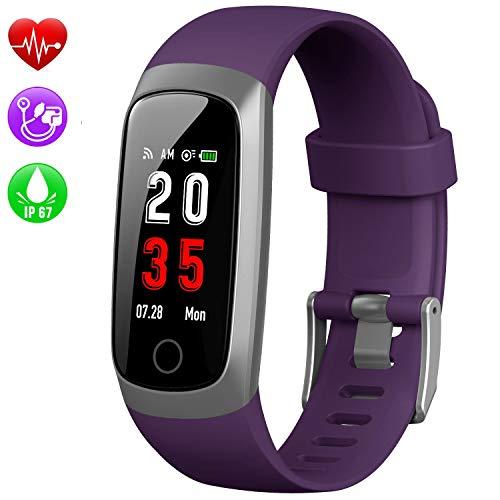 Kilponen Fitness Armband mit Pulsmesser, Fitness Tracker Uhr Blutdruckmesser Wasserdicht IP67 Smartwatch Schrittzähler Uhr Farbbildschirm GPS Aktivitätstracker Stoppuhr für Kinder Damen Herren