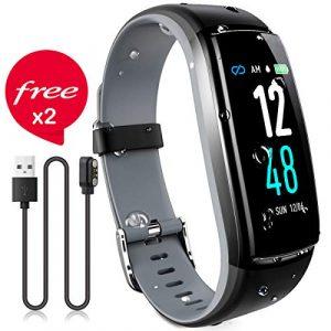 JAZIPO Fitness Armband mit Pulsmesser Blutdruck, Wasserdicht IP68 Fitness Tracker Smartwatch GPS Aktivitätstracker Pulsuhren Blutdruckmesser Vibrationsalarm Anruf SMS für Damen Männer (Grau)