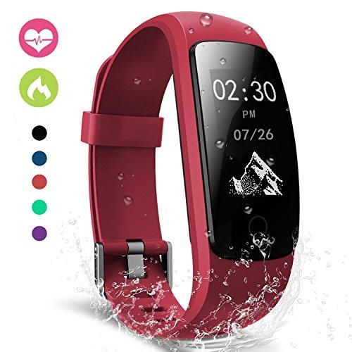 moreFit Slim Touch Wasserdicht Fitness Tracker Mit Herzfrequenz,Smart Fitness Armbanduhr Pulsuhr Schrittzähler,Schwimmen Activity Tracker GPS Für Damen/Herren,Rot