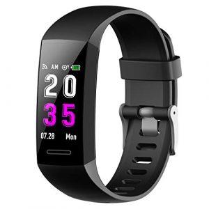 Fitness Armband mit Pulsmesser Blutdruckmessung, Fitness Tracker Schrittzähler Uhr Wasserdicht IP67 Pulsuhren Stoppuhr SportAktivitätstracker Schlafüberwachung Anruf SMS für Kinder Damen Männer
