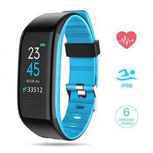 GOKOO Fitness Armband mit Pulsmesser, Smartwatch Fitness Tracker Farbbildschirm Smart Watch Wasserdicht Wasserdicht IP68 Aktivitätstracker Pulsuhren Schrittzaehler Fitness Uhr für Damen Herren (Blau)