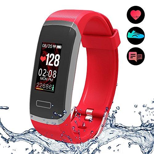 Fitness Armband mit Pulsmesser Wasserdicht IP67 Fitness Tracker Farbbildschirm Aktivitätstracker Smartwatch Pulsuhren Schrittzähler Uhr Vibrationsalarm Anruf SMS Beachten mit iOS Android Handy