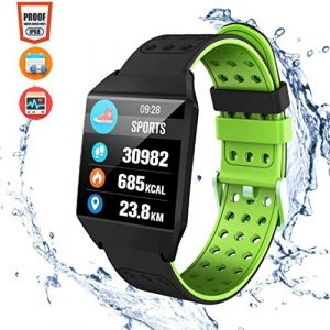 CatShin Fitness Tracker Fitnessuhr-CS04 IP68 Fitness Armband Smartwatch Wasserdicht Armband Sport Uhr Activity Tracker für Damen Herren Schrittzähler Blutdruck Pulsmesser-Android/IOS (Grün)