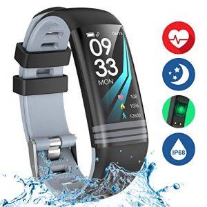 Danloryu Fitness Armband Uhr mit Pulsmesser Wasserdicht Fitness Tracker Farbbildschirm Aktivitätstracker Pulsuhren Schrittzaehler Stoppuhr Fitness Uhr für Damen Herren (HUI01)