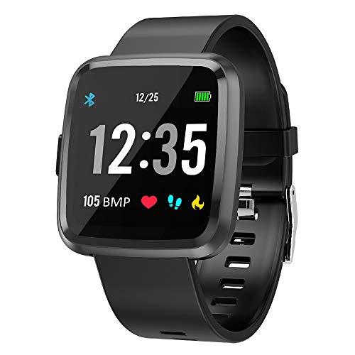 EFO SHM Smartwatch Fitness Tracker Armband Wasserdicht Fitness Uhr Pulsmesser Touchscreen Sport Armbanduhr Blutdruckmessung Aktivitätstracker für Damen Herren Andriod iPhone(Schwarz)