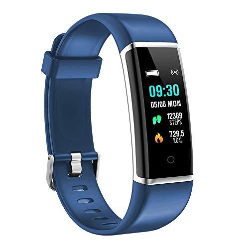 moreFit Fitness Armband Kinder, Wasserdicht IP67 GPS Fitness Tracker Farbbildschirm Aktivitätstracker Schrittzähler Uhr mit Stoppuhren Vibrationsalarm Anruf SMS Beachten für Damen Herren Kinder, Blau