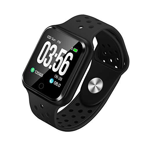 WAFA Fitness Armband mit Pulsmesser Blutdruck, Wasserdicht IP67 Fitness Tracker Smartwatch Sportuhren GPS Aktivitätstracker, Sport Data Monitor Vibrationsalarm Anruf SMS für Damen Männer (Schwarz)