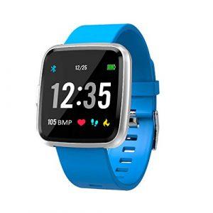 EFO SHM Smartwatch Fitness Tracker Armband Wasserdicht Fitness Uhr Pulsmesser Touchscreen Sport Armbanduhr Blutdruckmessung Aktivitätstracker für Damen Herren Kinder Andriod iPhone(Blau)