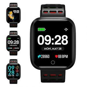 KUNGIX Smartwatch, Fitness Armband Trackers Wasserdicht Uhr Mit Pulsmesser Smart Watch Armbanduhr für Damen Herren Kinder Android iOS Mit Schrittzähler Kalorienzähler (Rot)