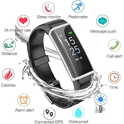 Lige Fitness Tracker, Aktivitäts Tracker Armband mit Pulsmesser Wasserdichte IP67 Fitness Uhr, Schlafmonitor Schrittzähler Kalorienzähler für Damen Herren Anruf SMS SNS Push für iOS Android Phone