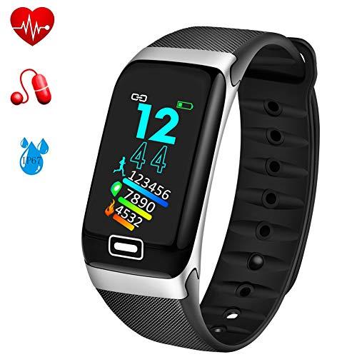 WISHDOIT Fitness Tracker mit Pulsmesser Fitness Armband Wasserdicht IP67 Schrittzähler Uhr Pulsuhren Smart Armband Uhr Aktivitätstracker mit Schlaf Monitor Kompatibel mit Android iOS Smartphone