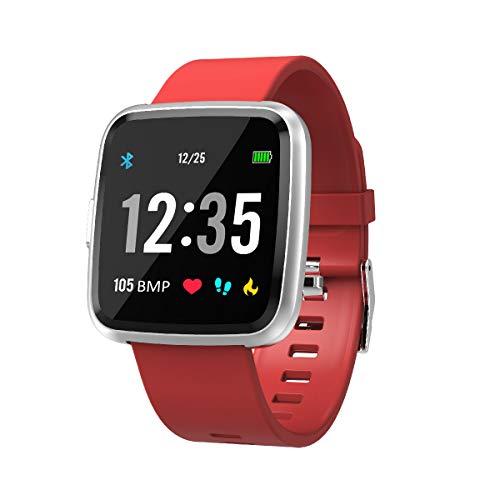 EFO SHM Smartwatch Fitness Tracker Armband Wasserdicht Fitness Uhr Pulsmesser Touchscreen Sport Armbanduhr Blutdruckmessung Aktivitätstracker für Damen Herren Andriod iPhone(Rot)
