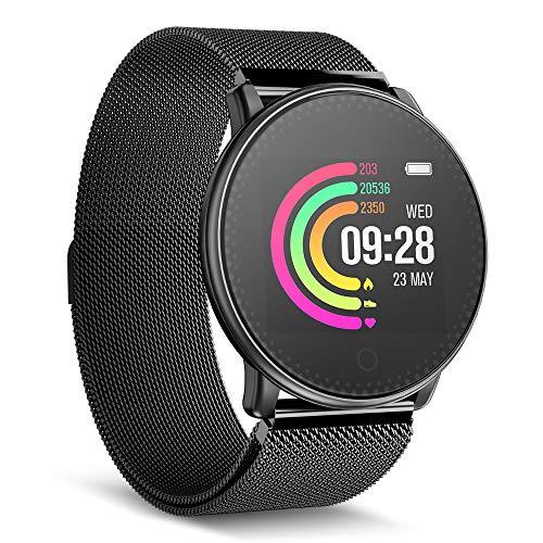Smartwatch, UMIDIGI Uwatch Fitness Tracker Uhr Armband Sport Uhr Smart Watch mit SMS Facebook, Twitter, WhatsAPP, Skype-Benachrichtigung kompatibles IOS und Android für Herren Damen(2 Uhrenarmbändern)
