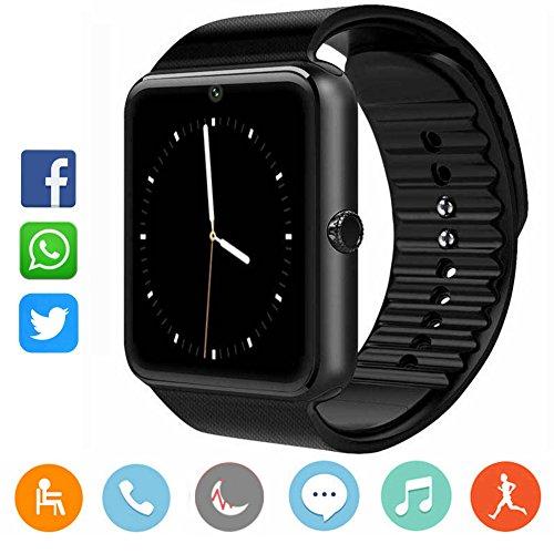 Smartwatch Damen Herren-CatShin CS03 Sport Uhr Fitnessuhr Fitness Tracker Intelligente Armbanduhr Smart Watch mit Kamera Schrittzähler Schlaftracker Kompatibel mit Android/IOS(SCHWARZ)