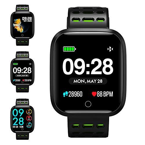 KUNGIX Smartwatch, Fitness Armband Trackers Wasserdicht Uhr Mit Pulsmesser Smart Watch Armbanduhr für Damen Herren Kinder Android iOS Mit Schrittzähler Kalorienzähler (Grün)