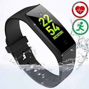 HOFIT Fitness Armband mit Pulsmesser,Wasserdicht Fitness Tracker Aktivitätstracker Pulsuhren Smartwatch Schrittzähler Uhr Schlafmonitor für Damen Herren(Schwarz)