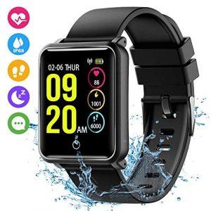 Seneo Smartwatch Wasserdicht IP68,Fitness Tracker mit Pulsmesser Fitness Watch Armband Uhr für Damen Herren Aktivitätstracker Schrittzähler Schlafmonitor Kalorienzähler Anruf SMS für Android iOS