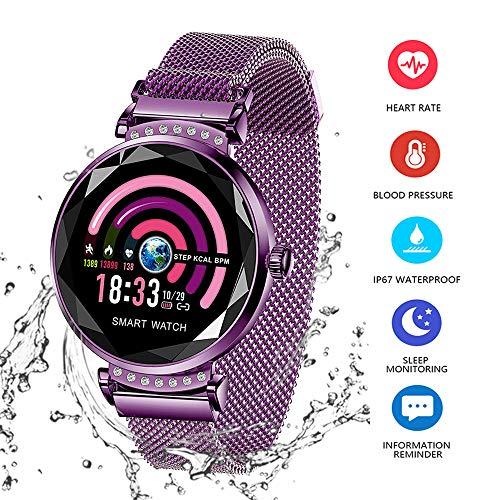 Wysgvazgv Smart Armband Damen H2 Fitness Tracker Armband mit Pulsmesser Blutdruck Herzfrequenz Schlafmonitor Smartwatch Wasserdichte IP67 Schrittzähler Farbbildschirm für Frauen Android iOS (Violett)