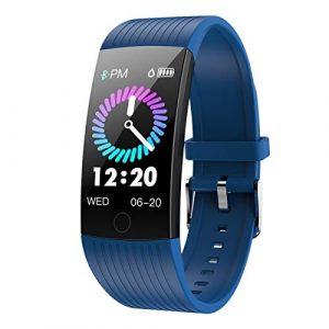 GOKOO Fitness Armband mit Pulsmesser Damen Herren Wasserdicht IP67 Fitness Tracker Smartwatch Aktivitätstracker Pulsuhr Schrittzähler Uhr Sportuhr für iPhone Android Handy (dunkelblau)