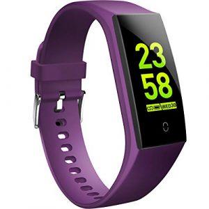 HOFIT Fitness Armband mit Pulsmesser,Wasserdicht Fitness Tracker Aktivitätstracker Pulsuhren Smartwatch Schrittzähler Uhr Schlafmonitor für Damen Herren(Violett)