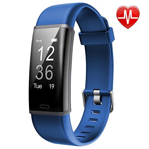 Lintelek IP67 Wasserdicht Schrittzähler, Fitness Tracker mit Pulsmesser Aaktivitätstracker für Damen Kinder Herren(Blau)