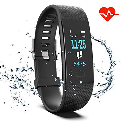 WISHDOIT Fitness Armband mit Pulsmesser, Fitness Tracker Uhr Wasserdicht IP67 Blutdruckmesser Schrittzähler Uhr Stoppuhr Sport GPS Aktivitätstracker Schlafüberwachung Anruf SMS für Kinder Damen Männer