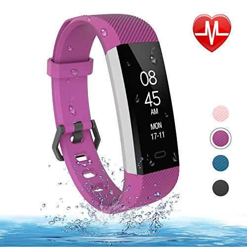fitpolo Fitness Tracker mit Pulsmesser- Schlanke Smart Watch, wasserdichter Activity Tracker mit Schrittkalorienzähler, Schlafmonitor, Schrittzähler Uhr für Herren Damen Kinder