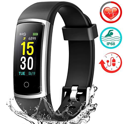 Fitness Armband mit Pulsmesser, Wasserdicht IP68 Fitness Tracker Farbbildschirm Uhr Aktivitätstracker Pulsuhr Schrittzähler Uhr Sportuhr Smartwatch Damen Herren Anruf SMS Beachten für iOS Android