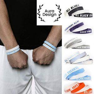 Aura Design Armband für Damen & Herren   Armbänder Sportarmband   Silikonarmband   Fitness Armband   4 Armbänder (Hellblau & Weiß)