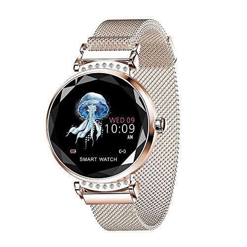 TechCode Fitness Armband mit Pulsmesser,Wasserdicht IP67 Fitness Tracker Farbbildschirm Aktivitätstracker Schrittzähler Uhr mit Blutdruck Vibrationsalarm Anruf SMS Beachten mit iOS Android Handy,Gold