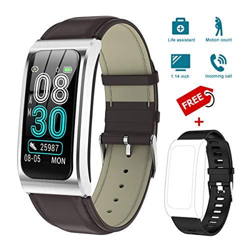 KINGLINK Fitness Armband, Fitness Tracker mit Pulsmesser Blutdruckmessung, 1.14 Zoll Farbbildschirm IP68 Wasserdicht Smartwatch Schrittzähler Uhr Smart Watch für Android iOS Damen Herren Kinder