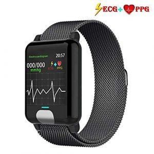 armo Fitness Armband, Smartwatch ECG+PPG Fitness Tracker mit Pulsmesser Wasserdicht IP67 Aktivitätstracker (Metall schwarz)