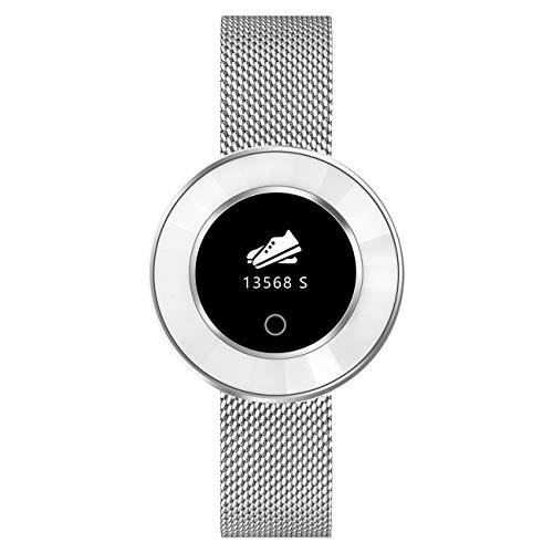 Fitness Tracker für Damen mit Herzfrequenz Blutdruck Sauerstoff Schrittzähler Smartwatch Armband Uhr Silber - 9705-19